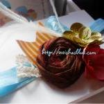 Brown Raw Silk Rosette Head..