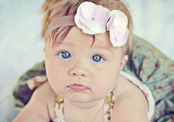 Baby Girl Flower Headband....Newborn Headband...Pink and Cream