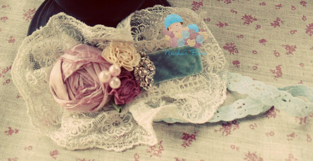 Velvet Headband, Baby Flower Headband, Headbands, Shabby Chic, Pink and Blue Headband, Shabby Chic Baby Flower Headbands
