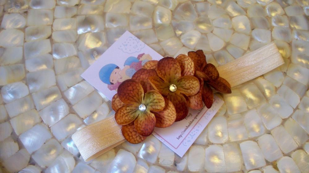 Light Brown Baby Flower Headbands, Big Girl Flower Headband, Triple Dainty Flower Headband with Swarovski Crystals
