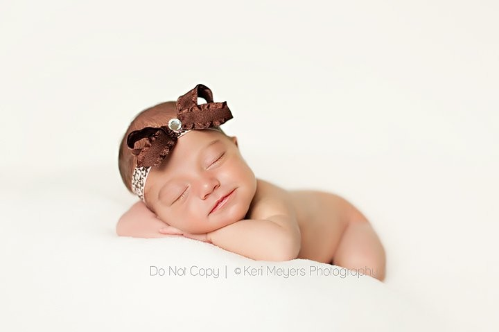 Brown Baby Headband, Chocolate Brown Girl Headband, Newborn Headband, Ruffles and Damask