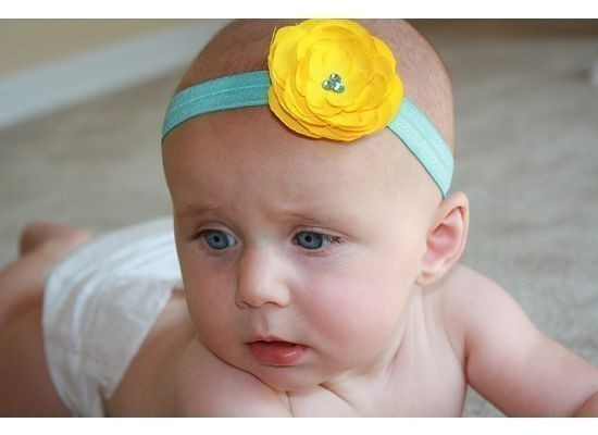 New Item Golden Yellow Small Rossette in Tiffany Blue Headband with Trio of Aquamarine Swarovski