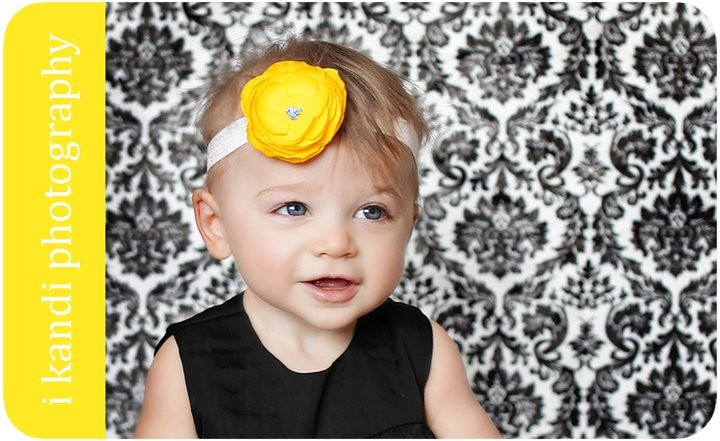Baby Flower Headband, Girl Headbands, Golden Yellow Small Rossette in Tiffany Blue or White Headband