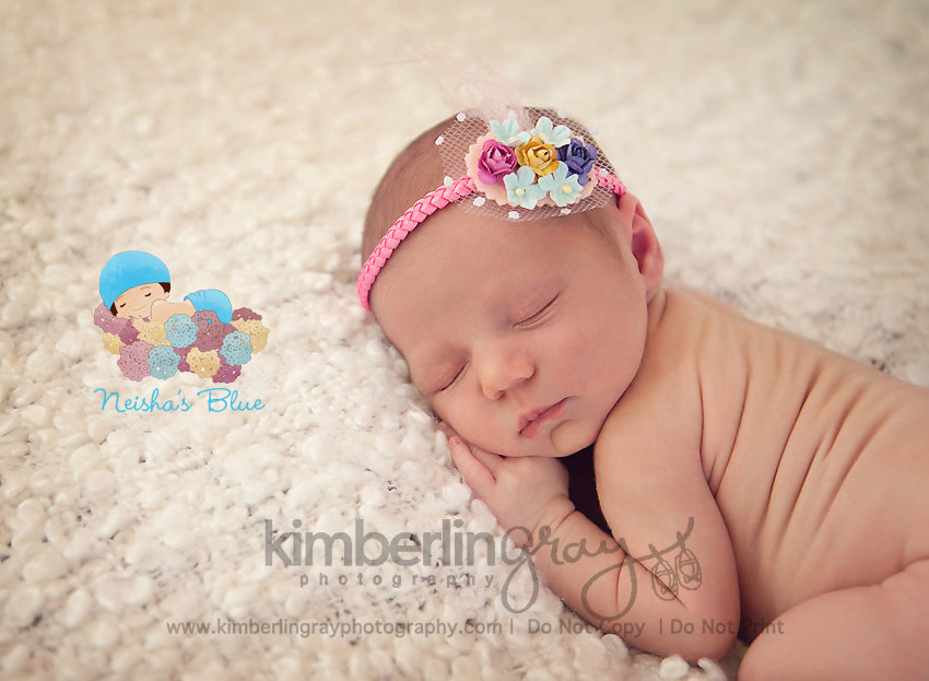 Pink Baby Girl Headband, Baby Flower Headband, Headbands, Spring Bloom Halo