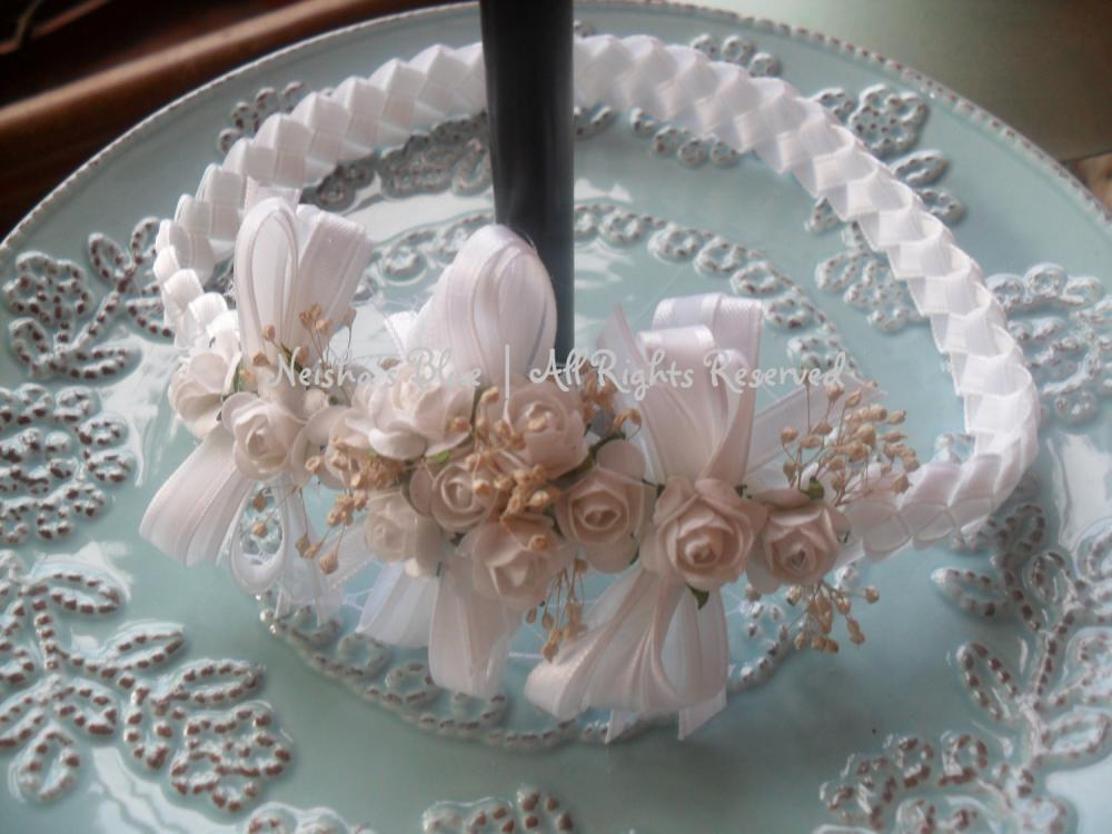 Baptism Baby Headband, Flower Headband, Baptism, Christening, Weddings White Flower