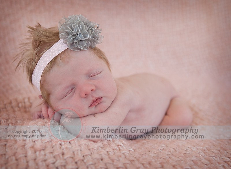 Grey Pink Headbands, Baby Flower Headband, Newborn Flower Headband Triple Organza Puff Headband in Pretty Pink with French Dots Stretch