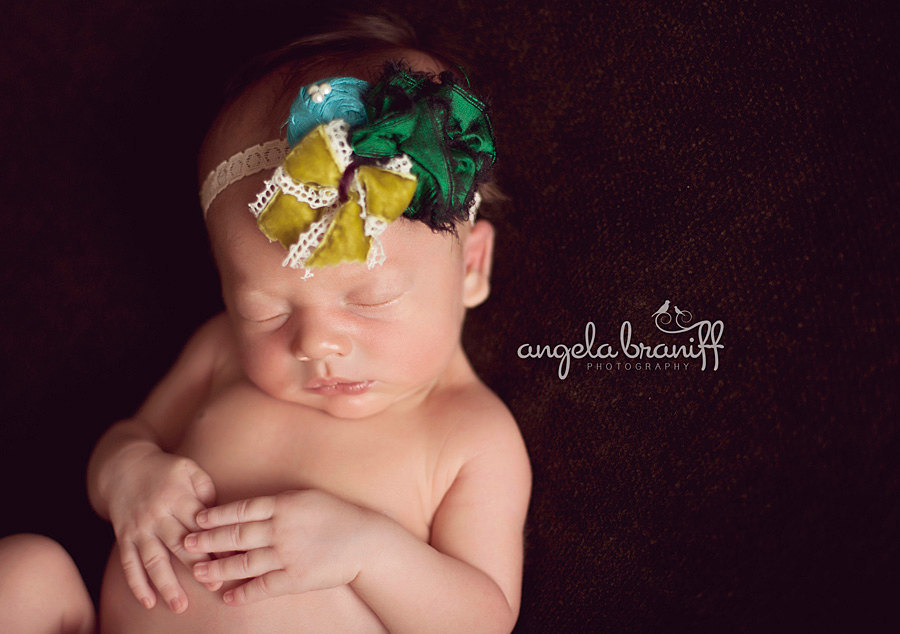 Kelly Green Baby Flower Headband, Green Baby Girl Headband, Headband Double Silk Flower Holiday