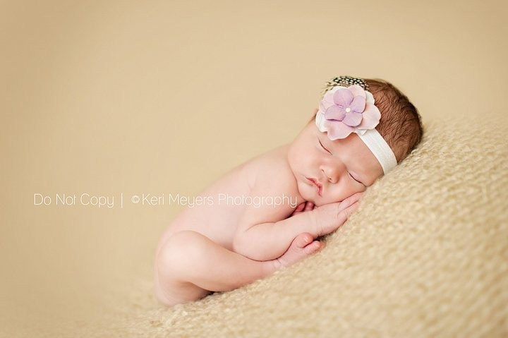 Lavender Baby Flower Headband with Swarovski Pearl in Super Soft Elastic