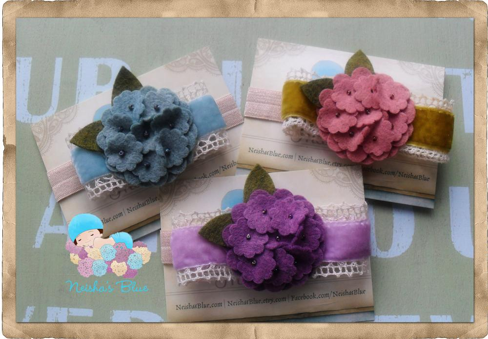Baby Flower Headband, Headbands, Baby Girl Headbands, Hydrangea Bloom Headbands, Pick your color
