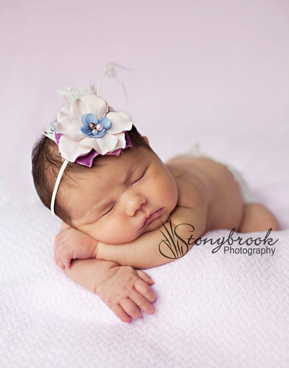 Cream Lilac Purple Baby Flower Headband - Newborn Flower Headband - Infant Headband - Baby Girl Headband