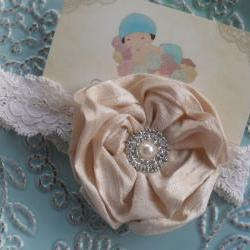 Baptism Headband White or Ecru- Christening Headband - Baby Headband - Newborn Headband