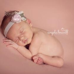 Pink Baby Headband, Holiday Silk Baby Flower Headband, Big Girl Headband, Pink Silk and Grey Velvet Headband